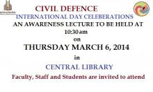 March 6, 2014 at 10:30 am: A LECTURE ON INTERNATIONAL DEFENSE DAY CELEBERATIONS